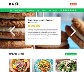 Basil Recipes WordPress Theme via ThemeForest